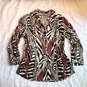 Pretty Chico's Print Blouse Work or Play